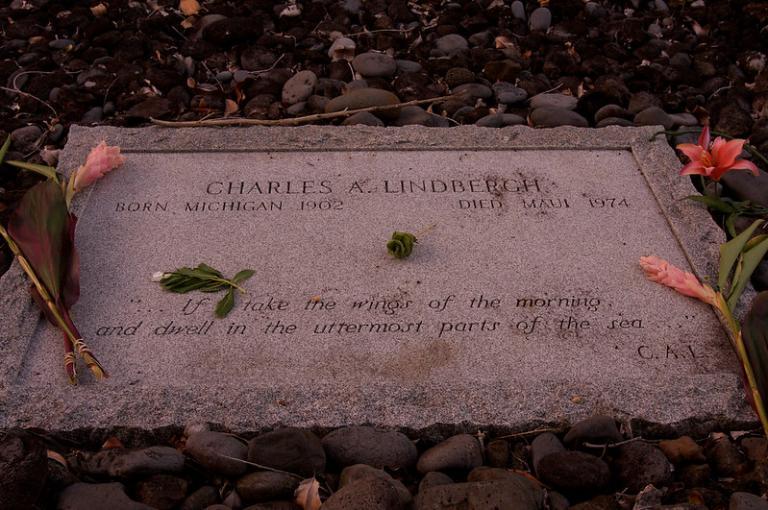 Charles Lindbergh's gravestone in Hawaii