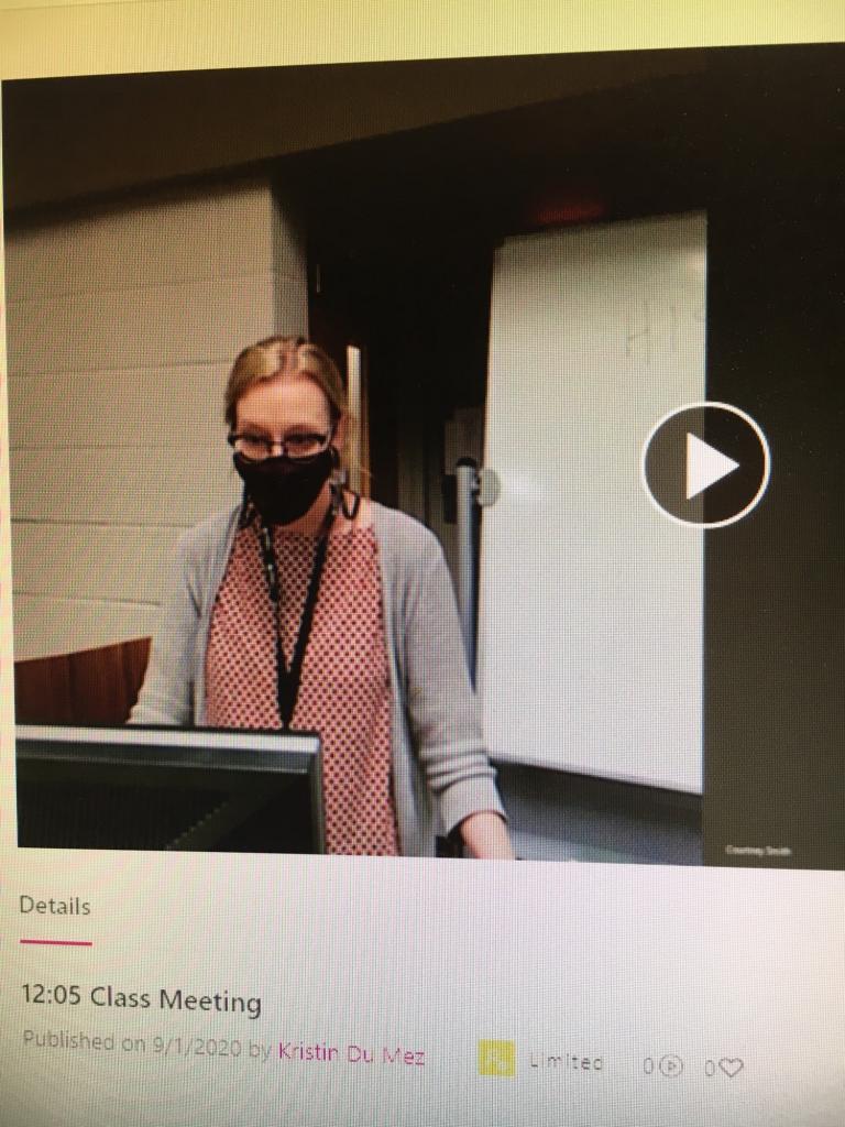 Still from video stream of Kristin Du Mez teaching in fall 2020