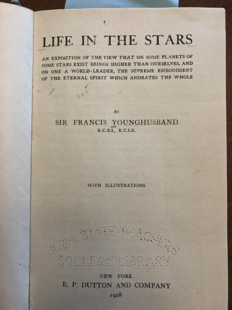 Title page from 1928 edition of Younghusband, Life in the Stars