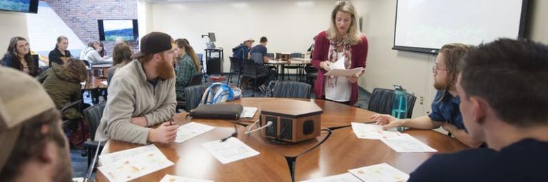 Amy Poppinga teaching a class at Bethel University