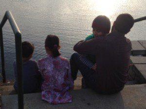 Kids with Baba at the lake