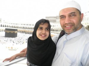 Mehreen and her Baba performing Umrah.