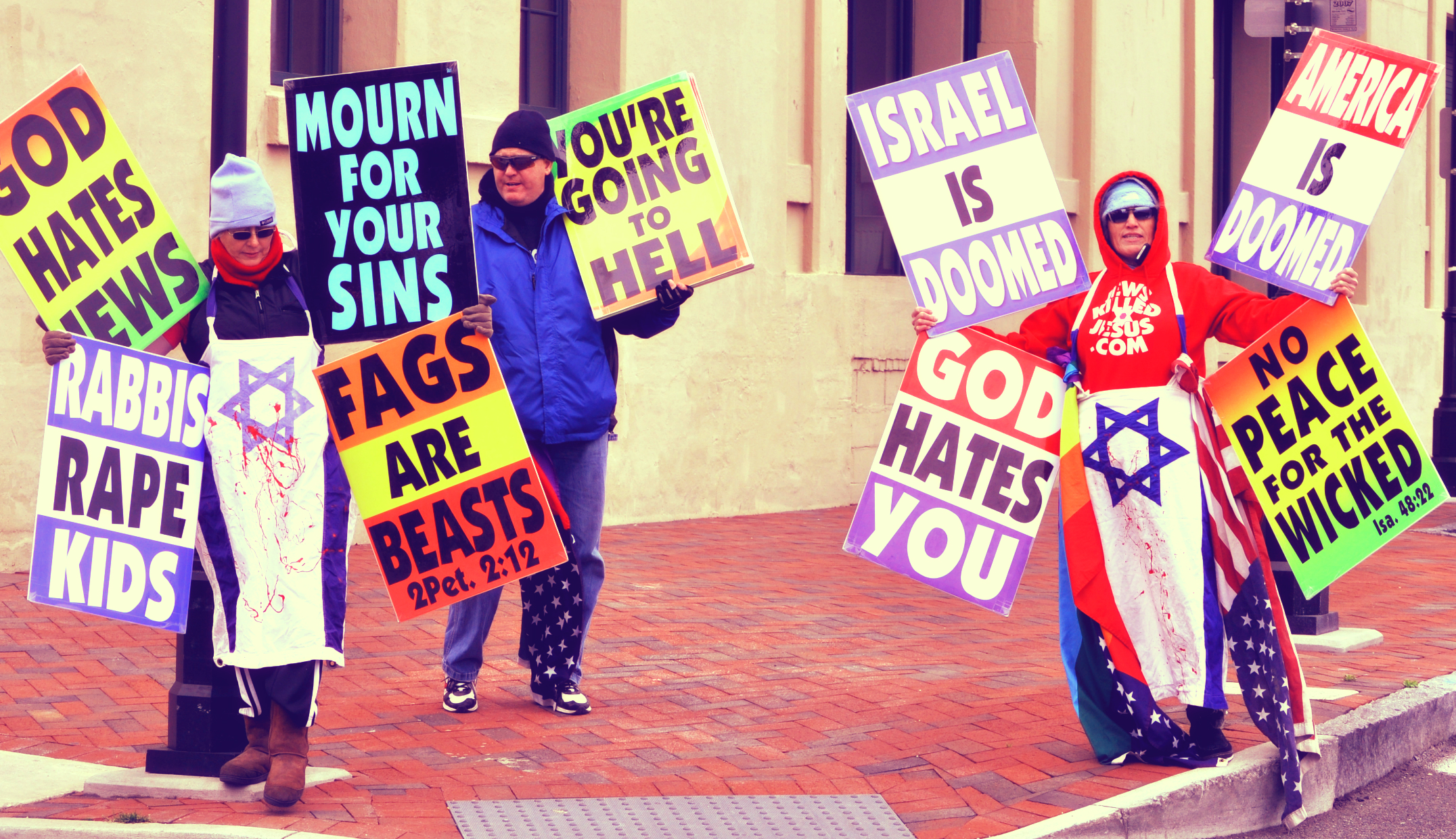 A Westboro Baptist Church protest. (Wikimedia Commons, alterations by Cody Ray Shafer).