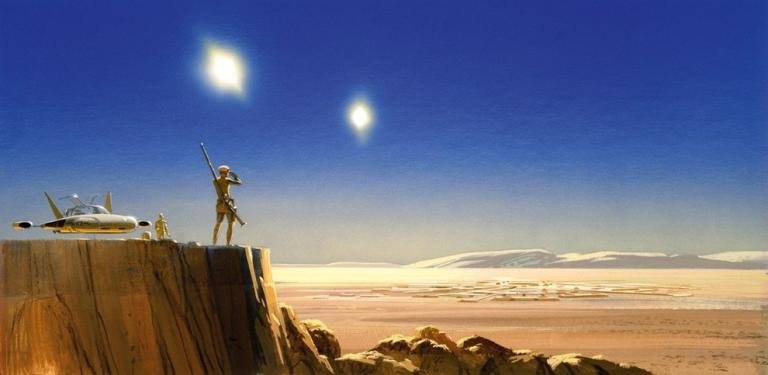Along with my love of the original films is a massive appreciation for Ralph McQuarrie's excellent concept art for the very first Star Wars. (Fair use)