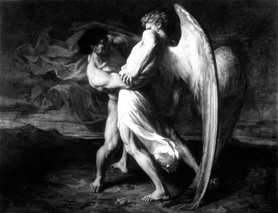 Jacob Wrestling with the Angel, by Alexander Leloir. Wikimedia Commons. Alterations by JJ Feinauer