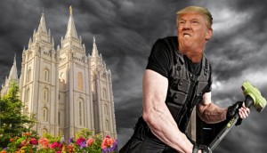 A jowly Donald Trump stands poised to attack the Salt Lake City LDS temple with a sledgehammer.