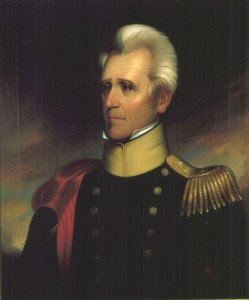 U.S. President Andrew Jackson in military uniform.