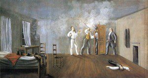 Joseph Smith and his companions at Carthage Jail. Image obtained through Creative Commons.