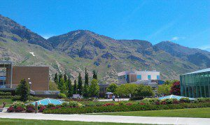 BYU's main quad in the summer