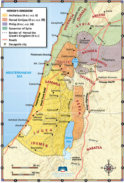 NT map of the land of Israel