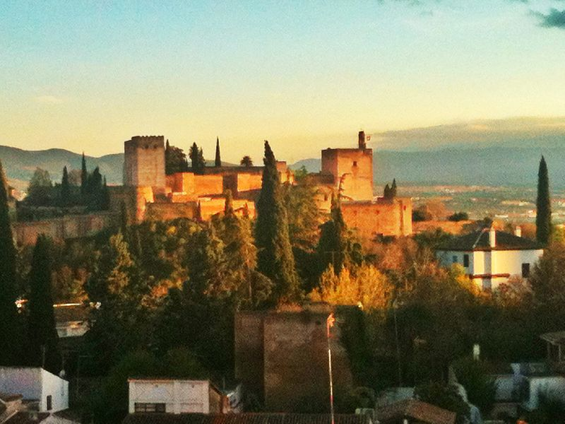 The Alhambra, as the sun sets