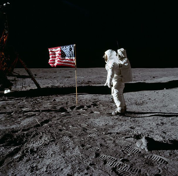 Armstrong's photo of Aldrin, with flag