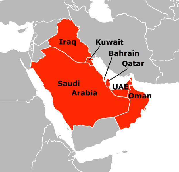 Political map of the Persian Gulf