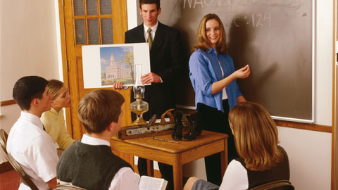 Mormon Sunday school, with youth