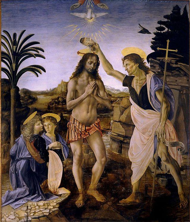 "Verrocchio, ""Baptism of Christ"""