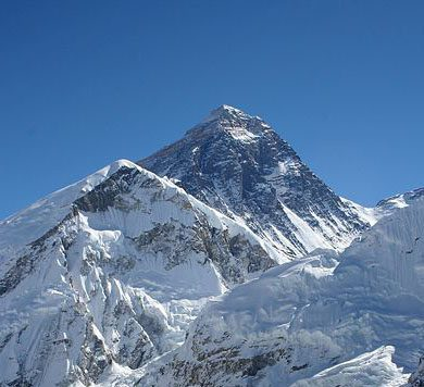 Mount Everest with snow (unlike the palm tree season)