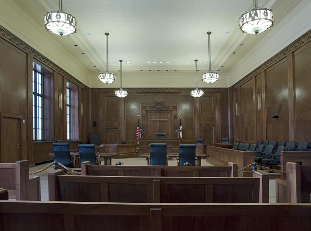 A courtroom in Iowa, or someplace.