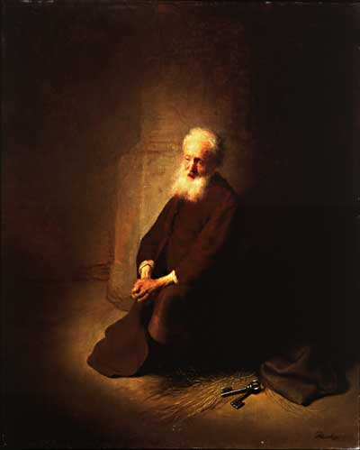 Rembrandt's image of Peter in prison