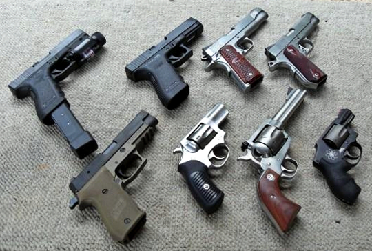 several handguns