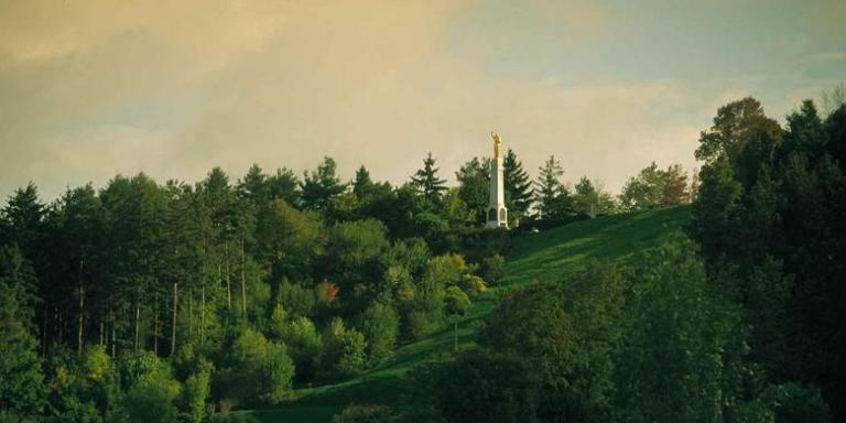 Moroni statue on Cumorah's hill