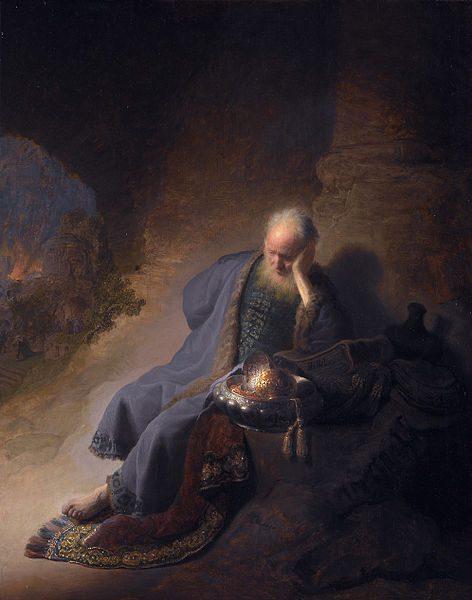"Rembrandt, ""Jeremiah Lamenting"""