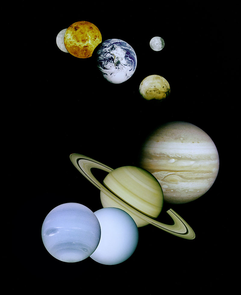 JPL image of eight planets plus Moon