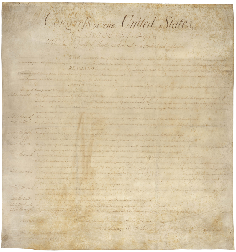 The Bill of Rights, in sepia