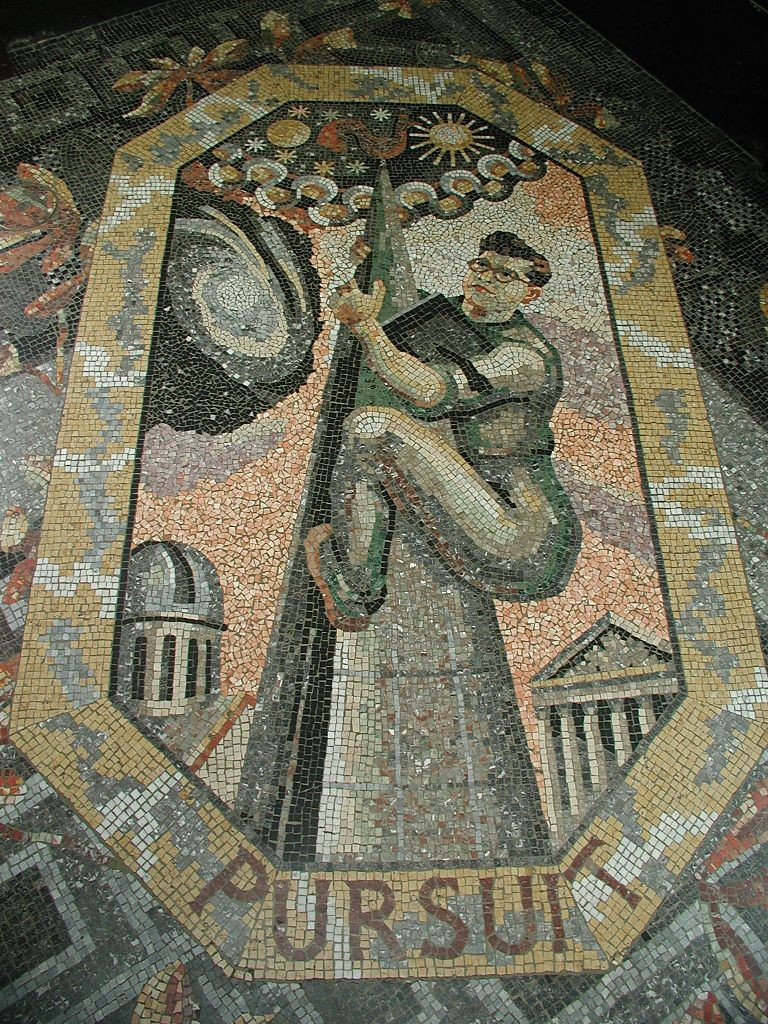 Sir Fred Hoyle in a mosaic