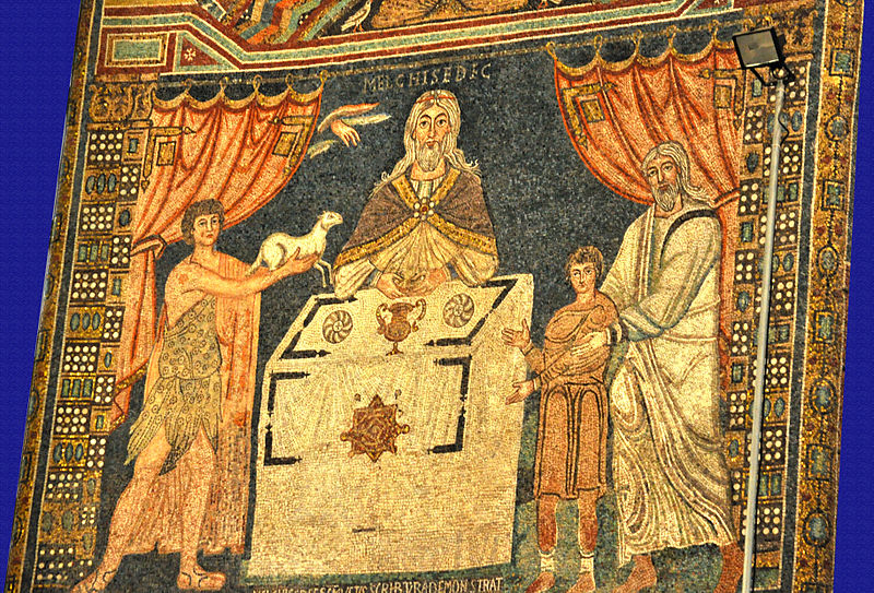 Melchizedek, with Abel, Abraham, and Isaac