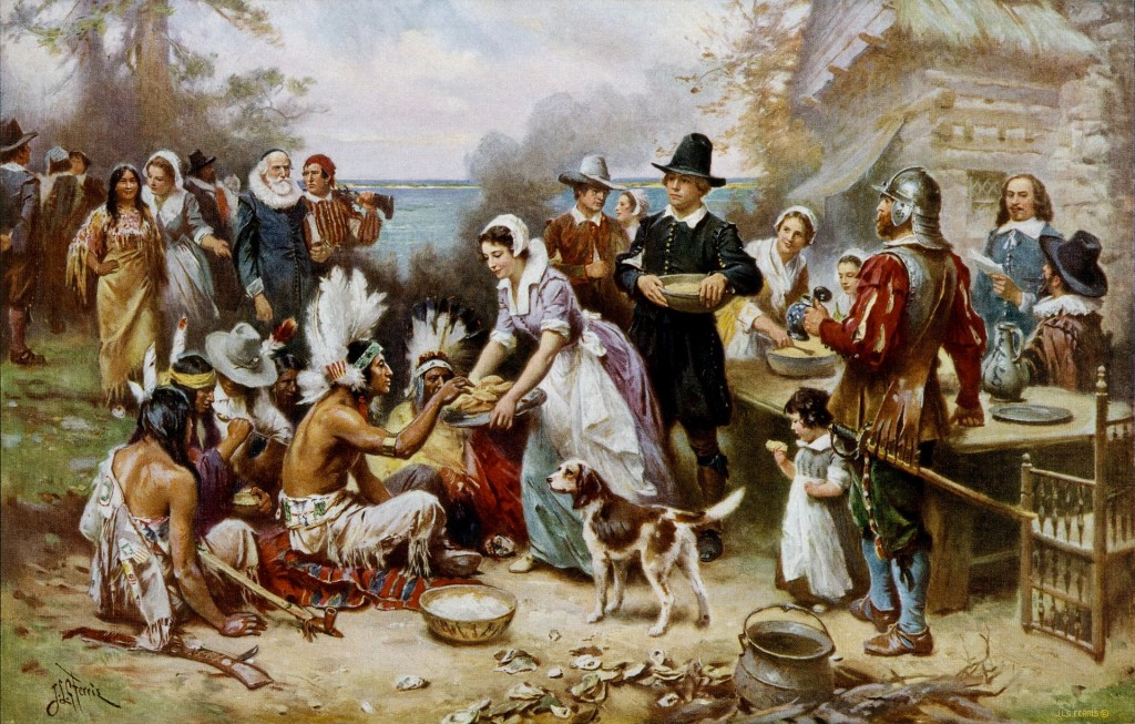 An artist's rendition of the first Thanksgiving