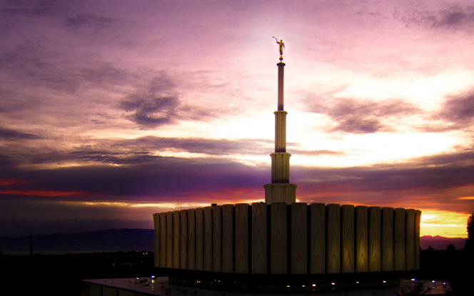 Provo's first temple, at nightfall