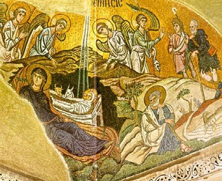 Daphni mosaic of the birth of Christ