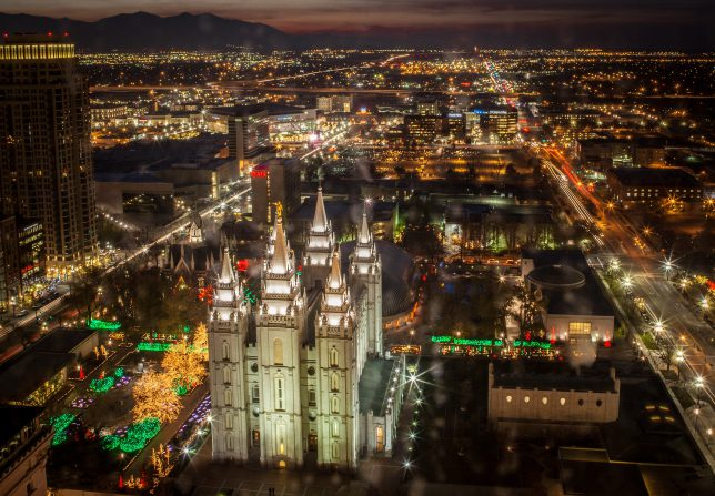 Looking down at the Salt Lake Temple at Christmas