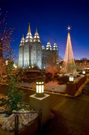 Temple Square, with Christmas lights