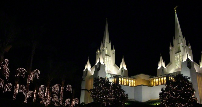 San Diego Temple at night at Christmas