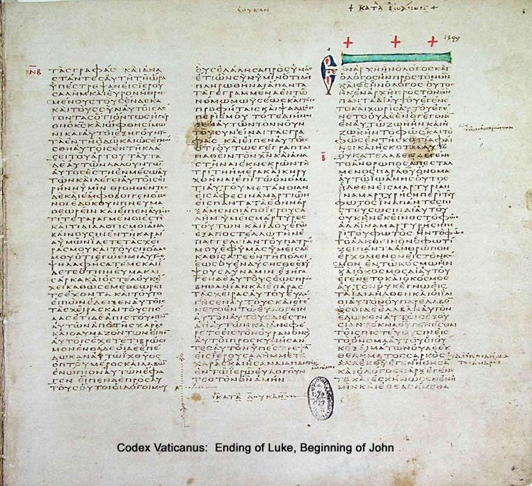 Codex Vaticanus, at the transition from Luke to John