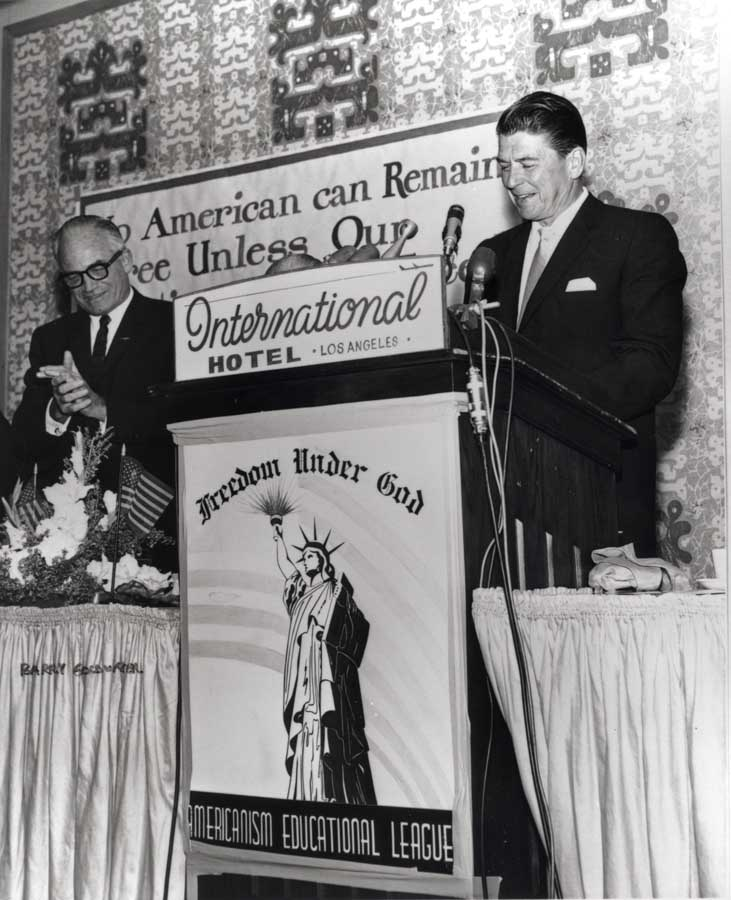 Sen. Barry Goldwater and Ronald Reagan in Los Angeles, in 1964