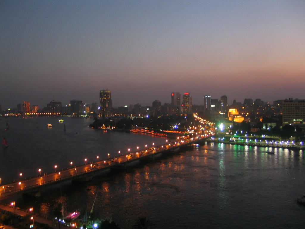 Egypt's largest city, at night