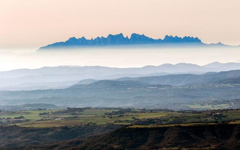 A view of Montserrat with clouds