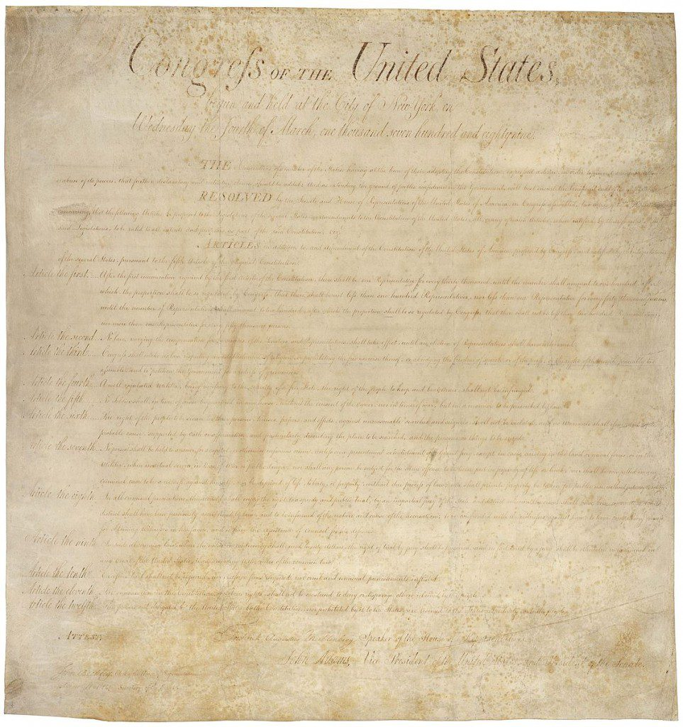 The original Bill of Rights with two extras