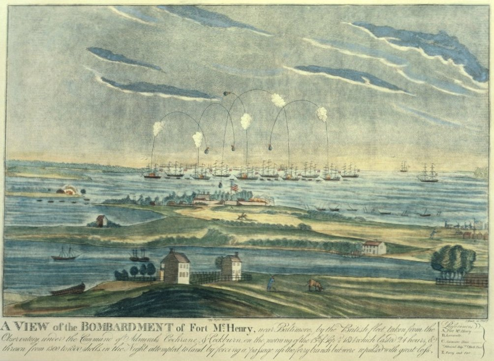 An old image of the attack on Fort McHenry