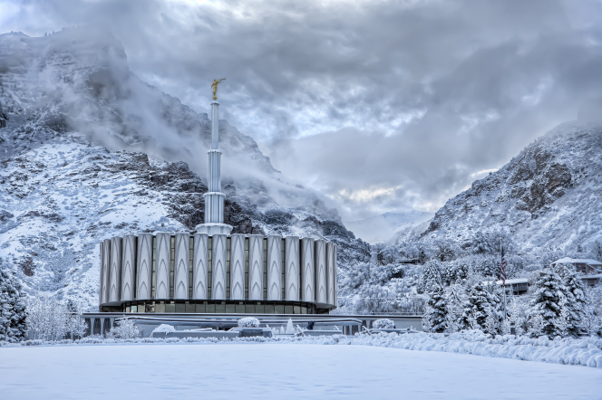 Wintertime on the grounds of Provo's first temple