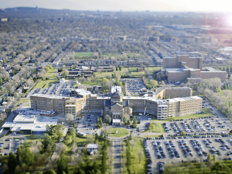 Aerial view of Mario Beauregard's hospital