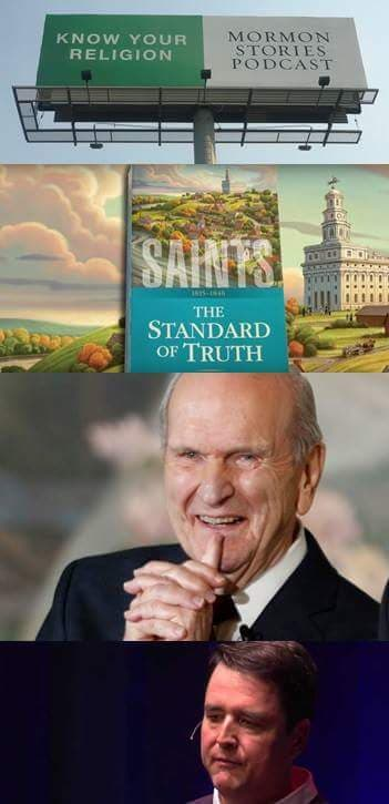 A montage of photos, including Russell M. Nelson and Dr. John Dehlin