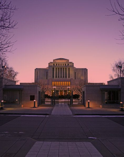 Wikimedia CC image of Cardston Temple at dusk