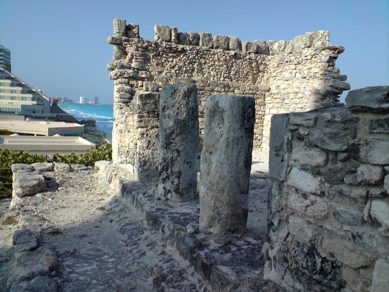 Cancun ruins and hotels