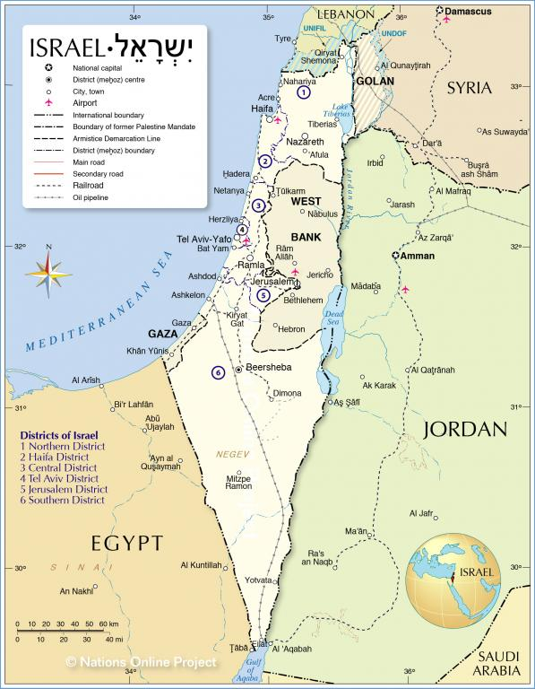 NOP map of Israel, political