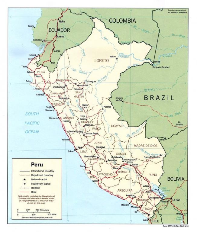 Political map of Peru