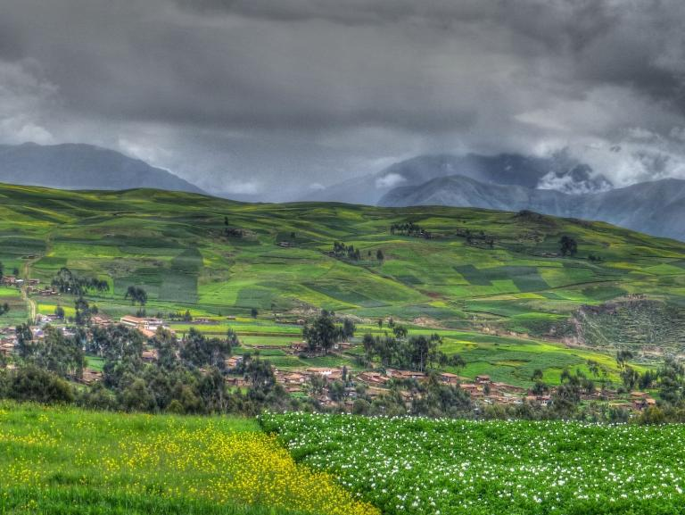 A scene in the Sacred Valley of Peru