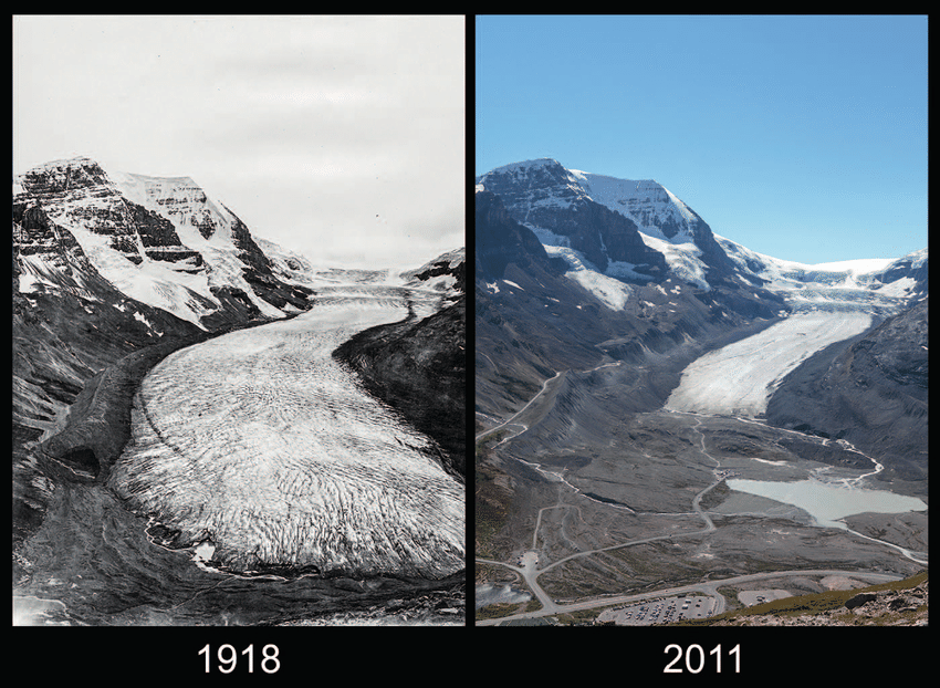 Athabasca Glacier then and now
